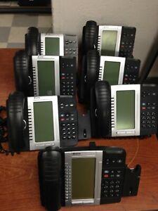 Lot of 7 Mitel 5330 IP Phones Backlit w/ Stands & Handsets 50005804 | C354DS