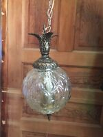 Vintage Mid Century Hollywood Regency Clear Pillow Glass Hanging Swag Lamp