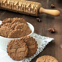 Christmas Rolling Pin Engraved Wood Embossed Xmas Tree Roller Pin Cookies Cake