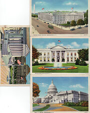 Art Deco tinted  4x postcards white house capital etc Washington D.C.. unposted