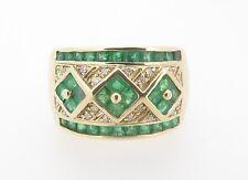 A Ladies Emerald & Diamond 14k Gold Dress Ring Size P 1/2 Val $4920