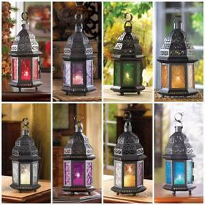 Glass/Iron Moroccan Candle Hanging Lanterns, Assorted Colors