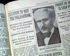 ARTURO TOSCANINI Italian Conductor New York Philharmonic TO QUIT 1936 Newspaper