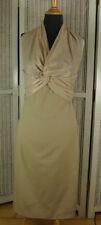LISA JAYNE DANN Pencil Dress UK10 Stone / Champagne Dual Tie Halter Party Wiggle