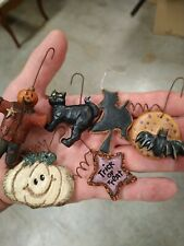 New Listing12 Scary Halloween Ornaments Hand Painted Resin Salem Collection Decorations