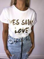 Womens Ladies Short Sleeve 'Yves Saint Love' Slogan Printed T-shirt Tee Tops