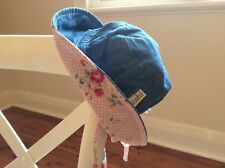 Toshi Baby Girl Sunhat Size XS Blue Denim with Pink Floral Print