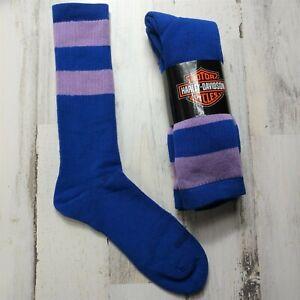 2 Pair Harley Davidson Merino Wool Socks Women's Medium Blue Purple Stripe
