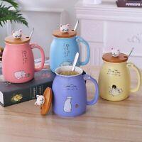 Casa Gatto Ceramica Caffè Mug Tè Latte Acqua Maniglia Coppa & Cucchiaio & Lid
