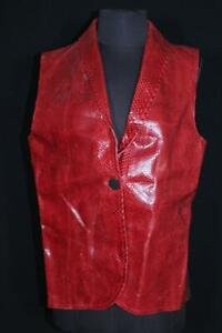 RARE VINTAGE 1970'S-1980'S LONG RED AUTHENTIC LIZARD SKIN VEST SIZE MEDIUM