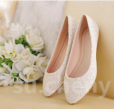 Real silk satin Lace white ivory red Wedding shoes Bridal flat ballet size 5-12