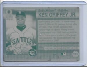 1/1 KEN GRIFFEY JR 1999 PACIFIC OMEGA 219 PRINTING PLATE SEATTLE MARINERS 1 OF 1
