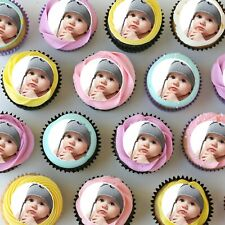 """Mini Edible Cupcake Toppers with your own image - 1.5"""" - PRE-CUT - Sheet of 30"""