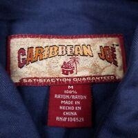 Caribbean Joe Hawaiian Shirt Men's Medium Short Sleeve Blue