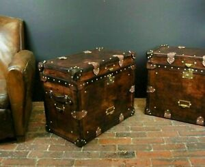 Antique Finest English Matching Pair of Leather Handmade Side Table Trunks E972