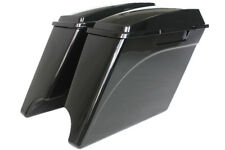 "Gloss/vivid black  4"" both cutout Stretched extended saddlebags for Harley 93-13"