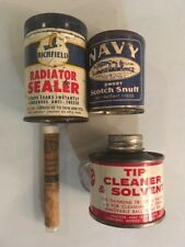 Lot Of 4 Vintage Antique Tins, Cans, Containers Automobile Snuff