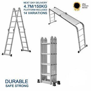 4.7M Aluminium Folding Telescopic Ladder Step Ladder Multi-Purpose Extendable