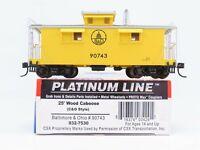 HO Scale Walthers Platinum 932-7530 B&O Baltimore & Ohio 25' Wood Caboose #90743