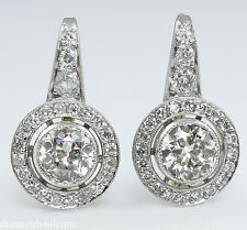 2.42CT ANTIQUE ART DECO OLD EURO DIAMOND DROP SOLITAIRE EARRINGS PLAT/YG EGL USA