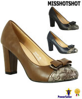 New Women's Ladies Block Chunky Nude Heels Smart Work Party Court Shoes Size 3-8