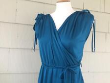 Vtg 70s long disco goddess wrap look maxi tie dress - small - b35
