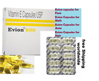 Evion 600 Vitamin E Cap For Face ,Hair, Acne ,Nails and Health by MERCK Exp 2020