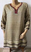 UMGEE Womens Size Medium Peasant Blouse Bohemian Boho Tunic Shirt 3/4 Sleeve
