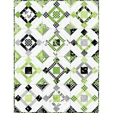 "Fair & Square Quilt Kit Pattern & Greenery Fabric by Maywood Finishes 54"" x 68"""