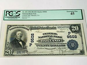 1902 $20 Oakland CA Central National Bank - PCGS 45 - Fr. 652