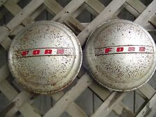 TWO 1947 1948 FORD SUPER DELUXE COUPE PICKUP TRUCK HUBCAP WHEEL COVER CENTER CAP