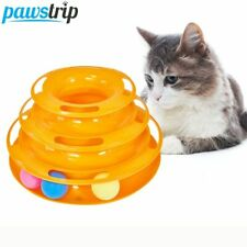 Juguete para gatos torre de 3 niveles con pelota disco Interactivo entretimiento