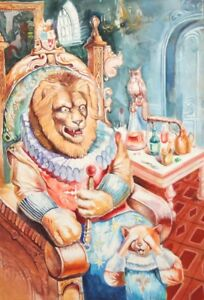 Surrealist fairy tale lion gouache painting
