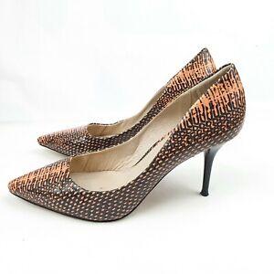 RMK Women's Orange Black Snake Skin Leather Stiletto Heels Size EUR 38 AU 7.5