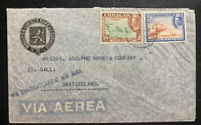 1946 Curacao Curiels Commercial Bank Airmail Cover To St Gallen Switzerland