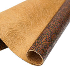 Slc Embossed Western Tooled Cowhide Leather   Rough Cut by SqFt
