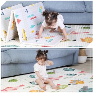2 Side Cartoon Baby Mat Kids Crawling Deucational Play Soft Foam Foldable Carpet
