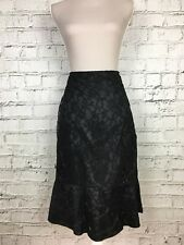 99241b60abf Womens PER UNA M S Black Floral Lace Detail Thin Side Zip Skirt Size 12