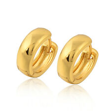 Fashion Yellow Gold Filled Girl womens Round Circle smooth small Hoop Earring