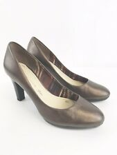 Anne Klein Ladies Brown Leather Court Heeled Shoes Size Uk3.5 VGC  Fast Shipping