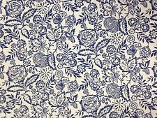 Prestigioso Polly BLU INDACO COTONE FLOREALE Curtain morbido tessuto per arredamento