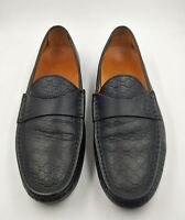Gucci Mens Black Leather Guccissima Driving Loafers Dress Shoe Size 9.5 10.5 US
