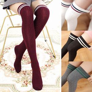 Damen Overknee Sock Strick Beinstulpen Cheerleader Strümpfe Lang Knie Socken