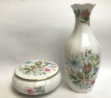 More details for aynsley wild tudor vase and trinket box floral design made in england