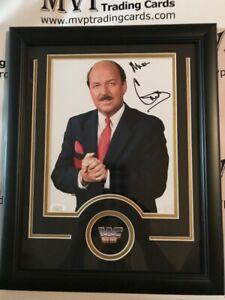 JSA Authentic Mean Gene Okerlund Autograph Custom Framed 8x10 WWF Photo