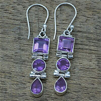 925 Silver Amethyst Square Round Pear Drop Dangle Hook Earrings Women Jewelry