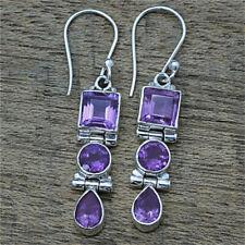 925 Silver Amethyst Square Round Pear Drop Dangle Hook Earrings Women Jewelry