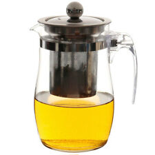 750mL Heat Resistant Clear Glass Teapot Stainless Steel Infuser Flower Tea Pot