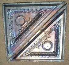 SALE!! 2 Antique Iridescent Victorian Ceiling Tin Tiles Acanthus Wreath Egg Dart