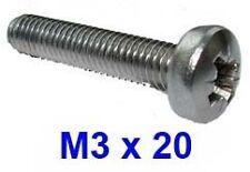 M3 x 20 Stainless Pozi Pan Head Machine Screws - 3mm x 20mm Pozi Pan x20